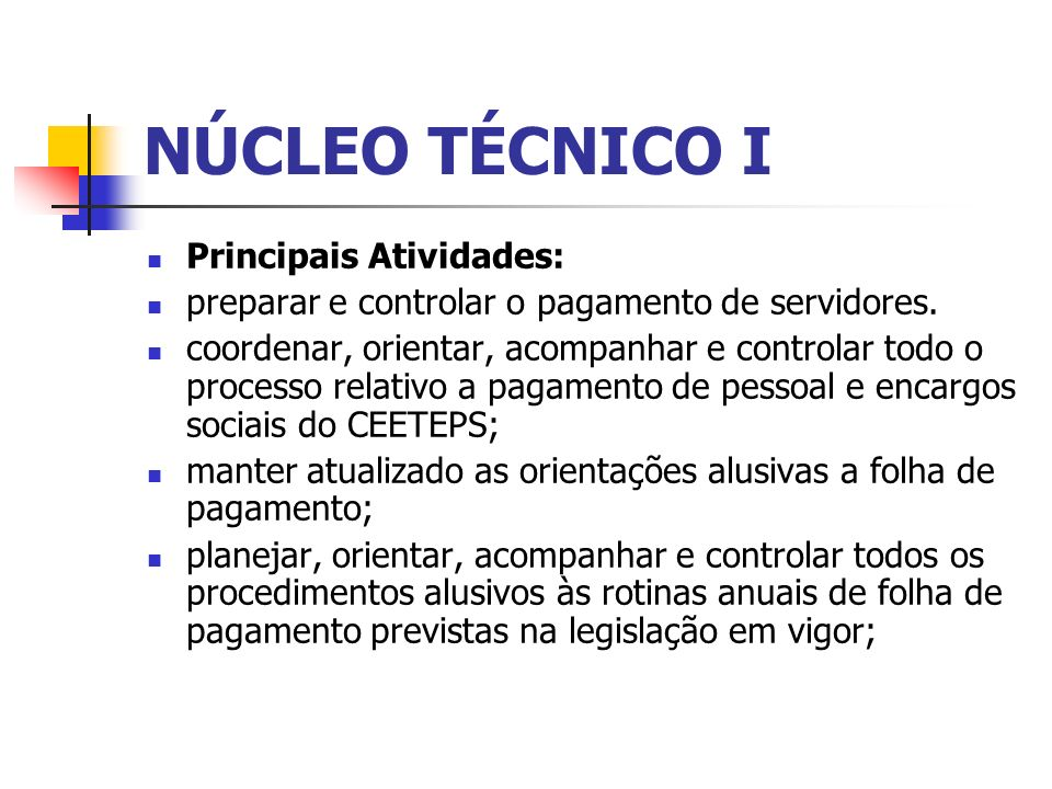 NÚCLEO TÉCNICO I Principais Atividades: