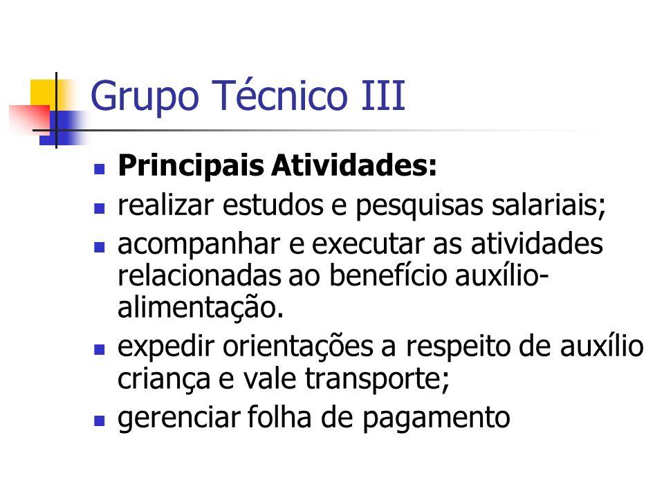 Grupo Técnico III Principais Atividades:
