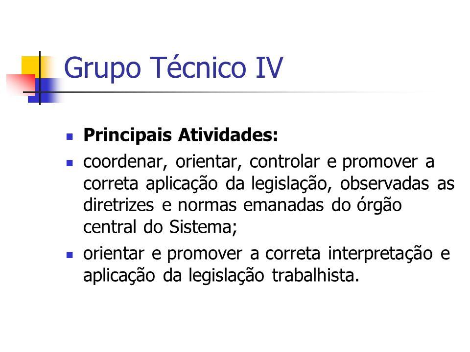 Grupo Técnico IV Principais Atividades: