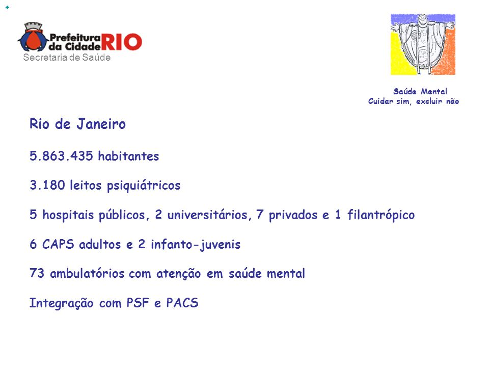 Rio de Janeiro 5.863.435 habitantes 3.180 leitos psiquiátricos