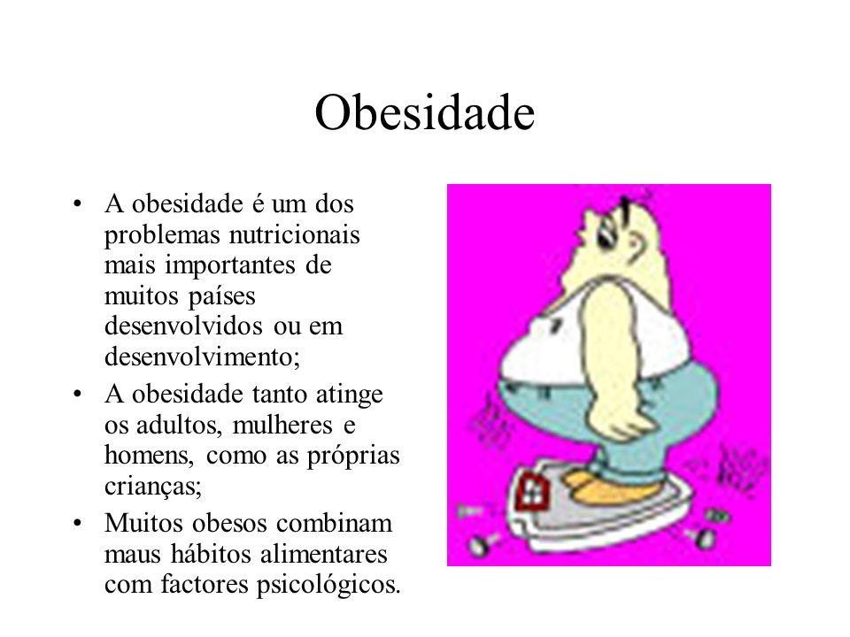 Obesidade A obesidade é um dos problemas nutricionais mais importantes de muitos países desenvolvidos ou em desenvolvimento;