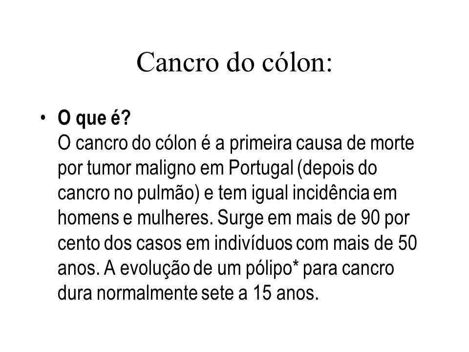Cancro do cólon: