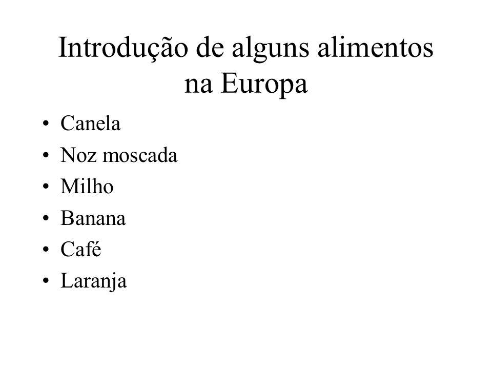 Introdução de alguns alimentos na Europa