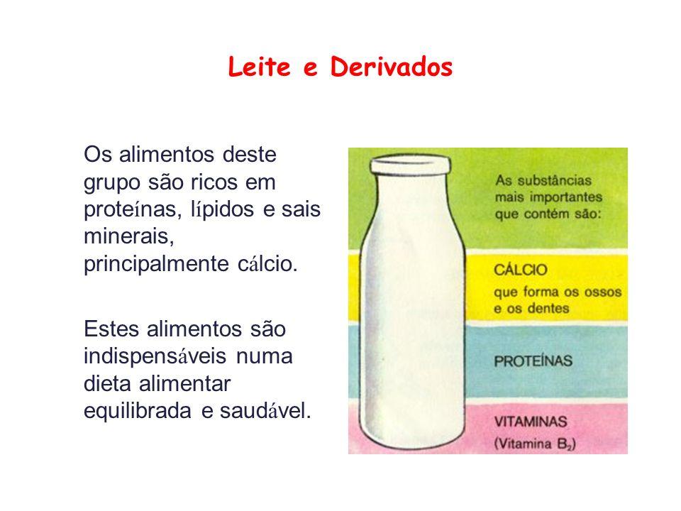 Leite e Derivados Os alimentos deste grupo são ricos em proteínas, lípidos e sais minerais, principalmente cálcio.