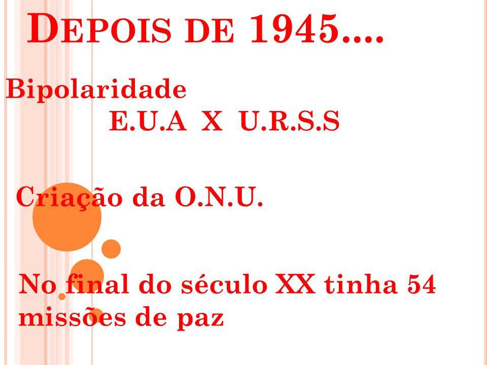 Depois de 1945.... Bipolaridade E.U.A X U.R.S.S Criação da O.N.U.