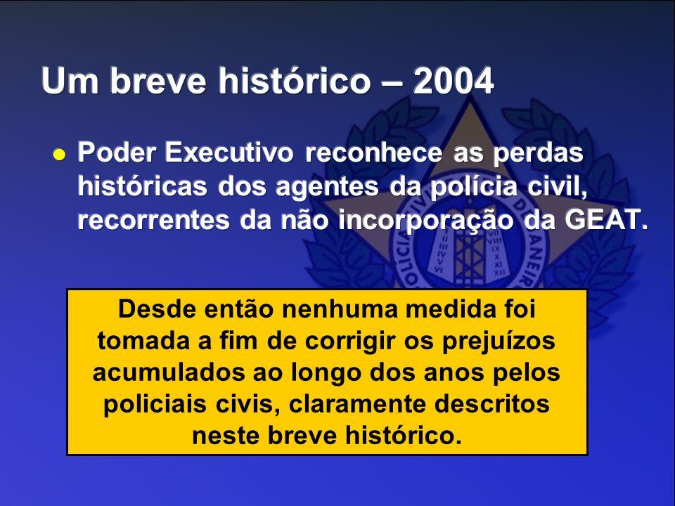 Um breve histórico – 2004 Poder Executivo reconhece as perdas históricas dos agentes da polícia civil, recorrentes da não incorporação da GEAT.