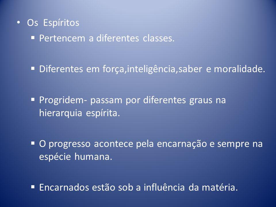 Os Espíritos Pertencem a diferentes classes. Diferentes em força,inteligência,saber e moralidade.