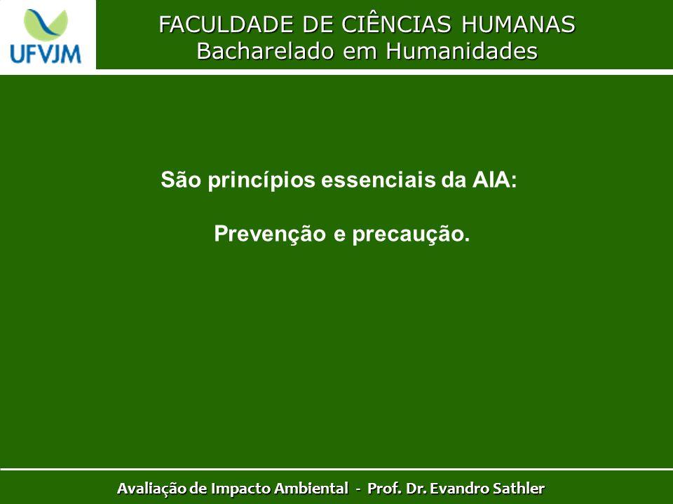 São princípios essenciais da AIA: Prevenção e precaução.