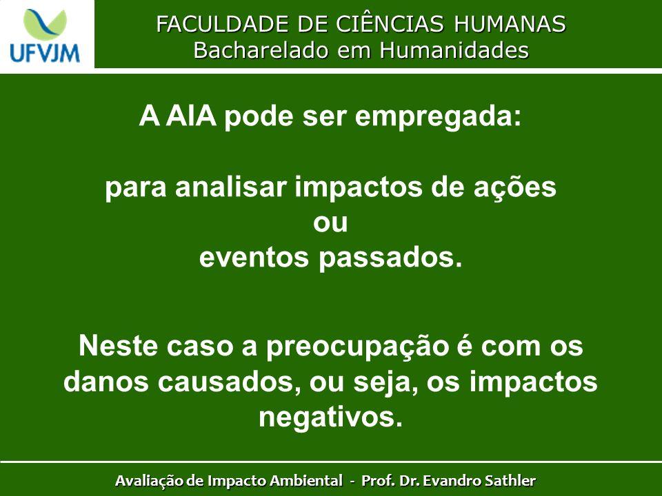 A AIA pode ser empregada: para analisar impactos de ações ou