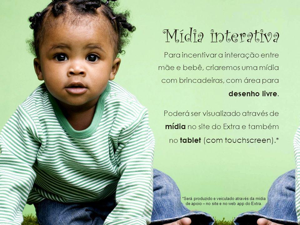 Mídia interativa Para incentivar a interação entre mãe e bebê, criaremos uma mídia com brincadeiras, com área para desenho livre.