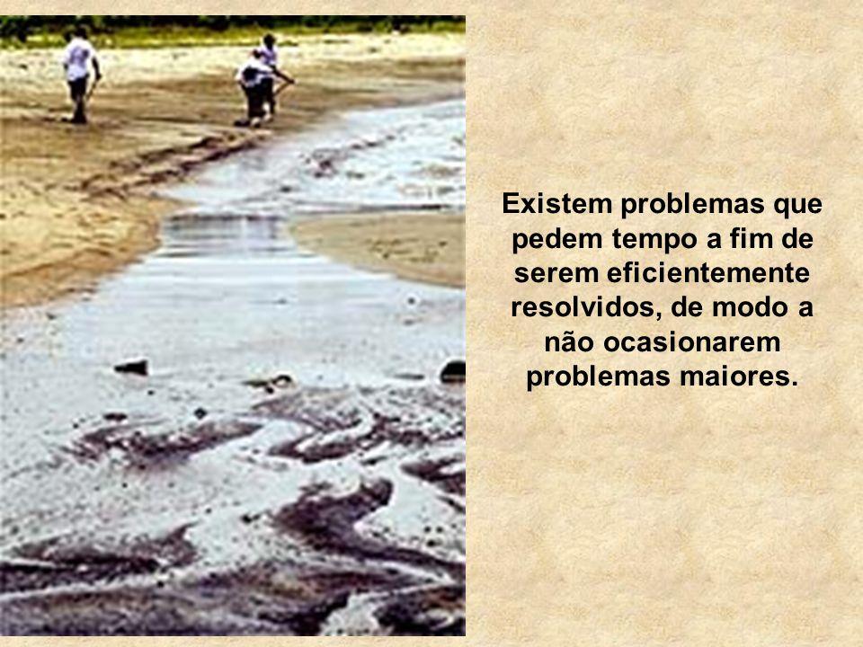 Existem problemas que pedem tempo a fim de serem eficientemente resolvidos, de modo a não ocasionarem problemas maiores.