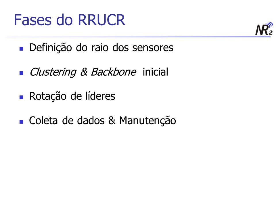 Fases do RRUCR Definição do raio dos sensores