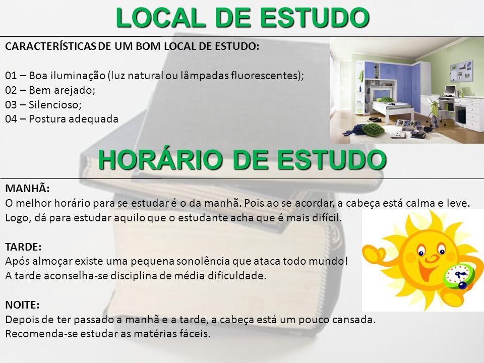 LOCAL DE ESTUDO HORÁRIO DE ESTUDO