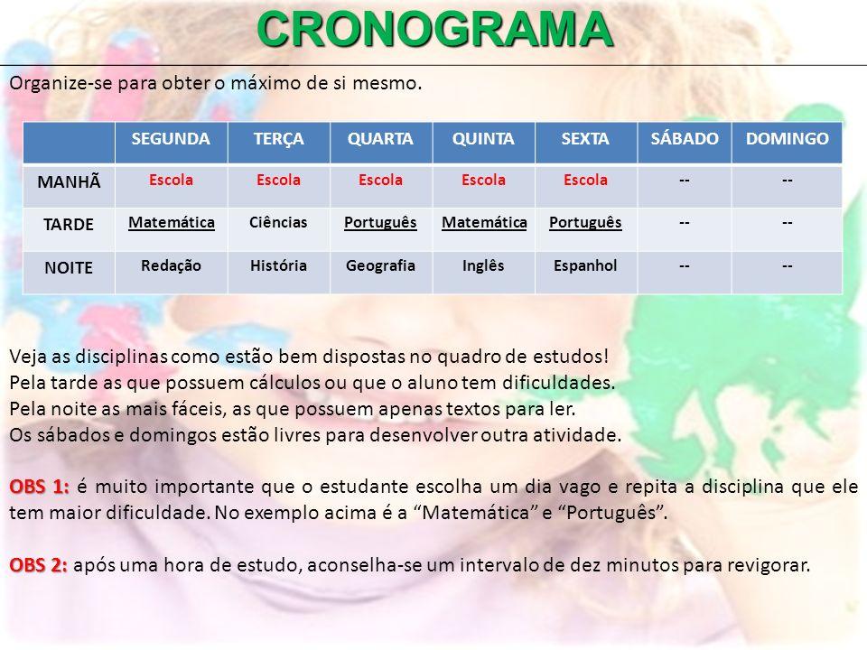 CRONOGRAMA Organize-se para obter o máximo de si mesmo.