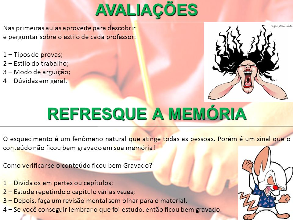 AVALIAÇÕES REFRESQUE A MEMÓRIA