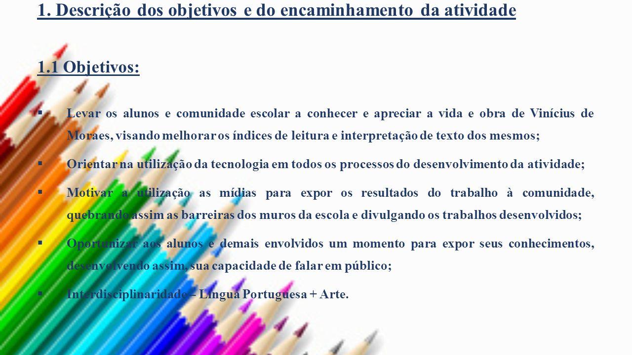 1. Descrição dos objetivos e do encaminhamento da atividade