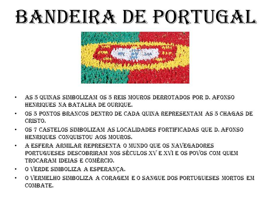 Bandeira de Portugal As 5 quinas Simbolizam os 5 reis mouros derrotados por D. Afonso Henriques na batalha de Ourique.