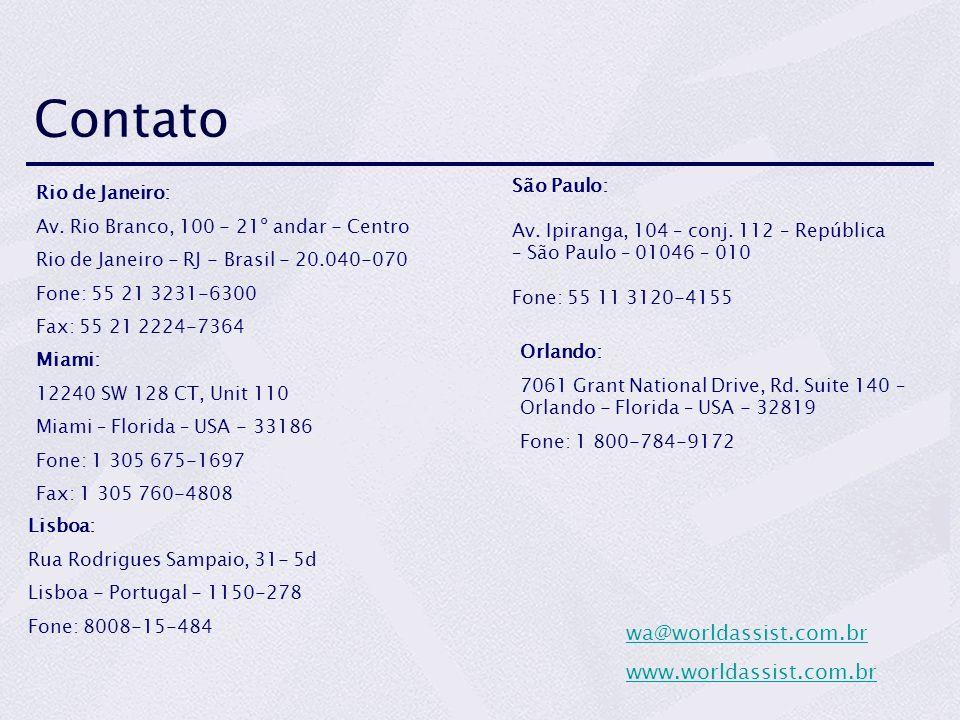 Contato wa@worldassist.com.br www.worldassist.com.br São Paulo: