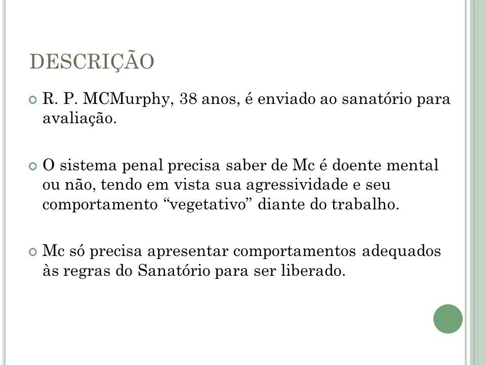 DESCRIÇÃO R. P. MCMurphy, 38 anos, é enviado ao sanatório para avaliação.