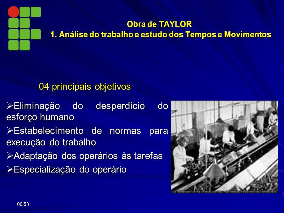 Obra de TAYLOR 1. Análise do trabalho e estudo dos Tempos e Movimentos