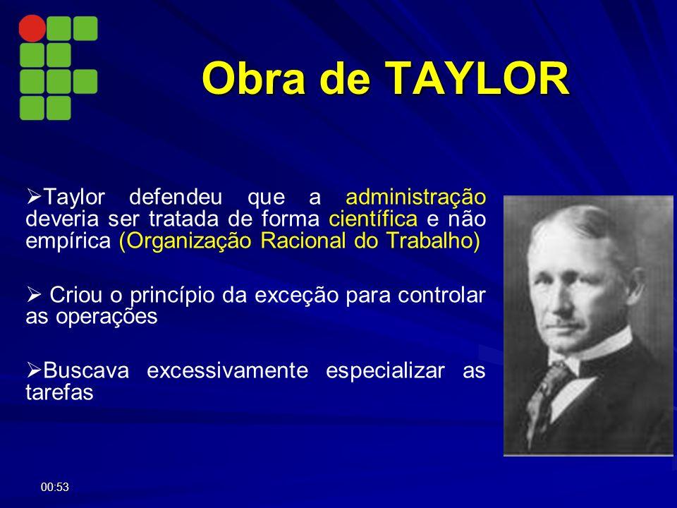 Obra de TAYLOR Taylor defendeu que a administração deveria ser tratada de forma científica e não empírica (Organização Racional do Trabalho)