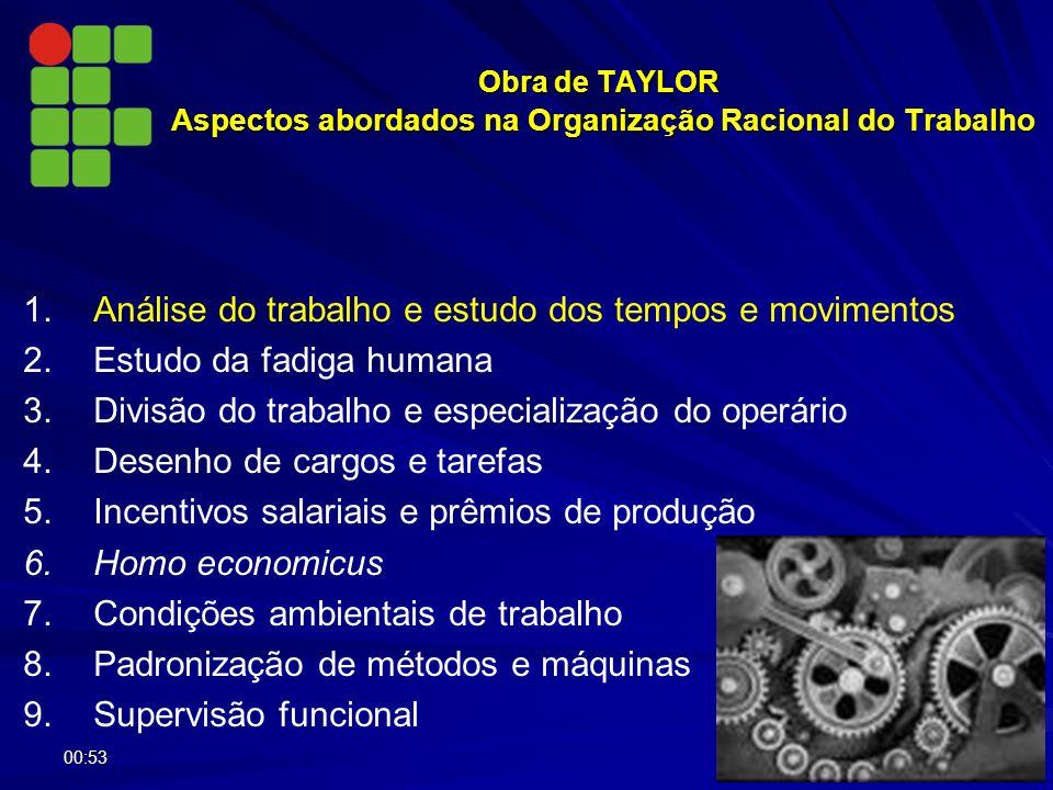 Obra de TAYLOR Aspectos abordados na Organização Racional do Trabalho