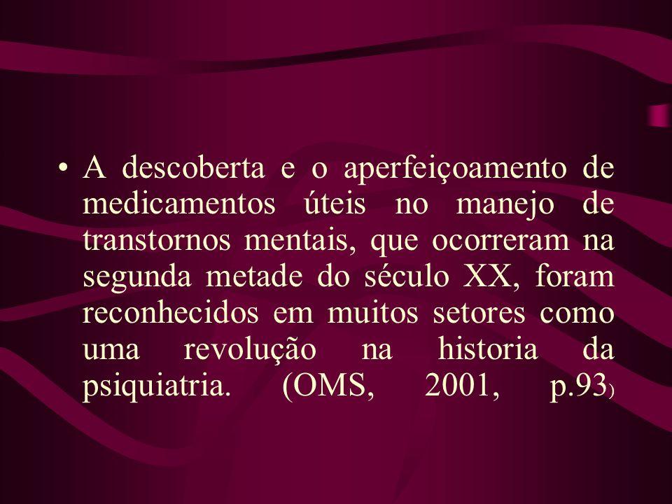 A descoberta e o aperfeiçoamento de medicamentos úteis no manejo de transtornos mentais, que ocorreram na segunda metade do século XX, foram reconhecidos em muitos setores como uma revolução na historia da psiquiatria.
