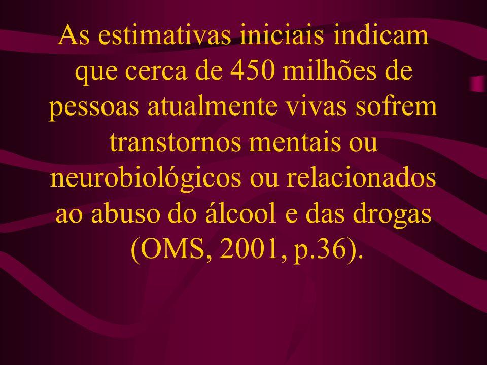 As estimativas iniciais indicam que cerca de 450 milhões de pessoas atualmente vivas sofrem transtornos mentais ou neurobiológicos ou relacionados ao abuso do álcool e das drogas (OMS, 2001, p.36).