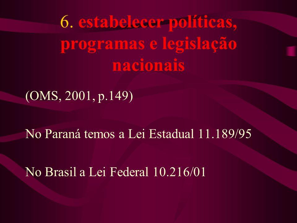 6. estabelecer políticas, programas e legislação nacionais