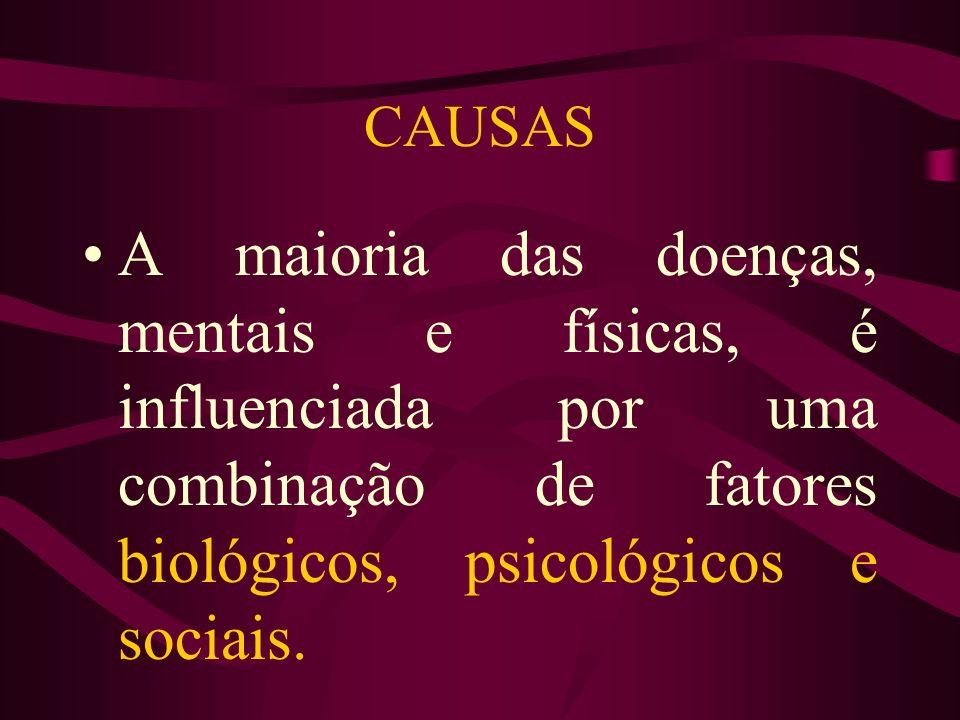 CAUSAS A maioria das doenças, mentais e físicas, é influenciada por uma combinação de fatores biológicos, psicológicos e sociais.