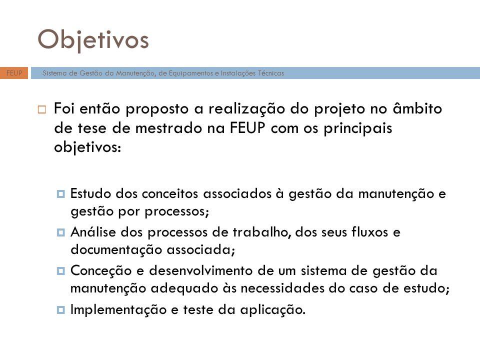 Objetivos FEUP. Sistema de Gestão da Manutenção, de Equipamentos e Instalações Técnicas.