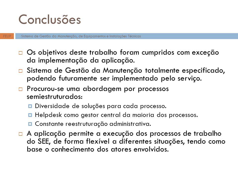 Conclusões FEUP. Sistema de Gestão da Manutenção, de Equipamentos e Instalações Técnicas.
