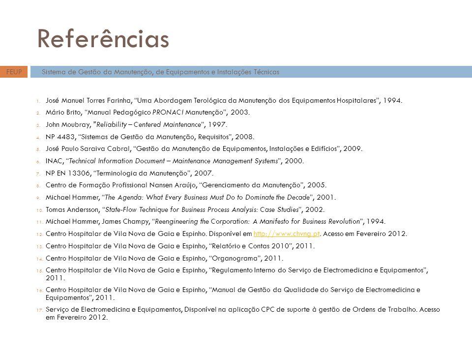Referências FEUP. Sistema de Gestão da Manutenção, de Equipamentos e Instalações Técnicas.