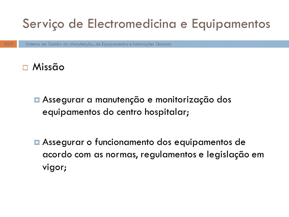 Serviço de Electromedicina e Equipamentos