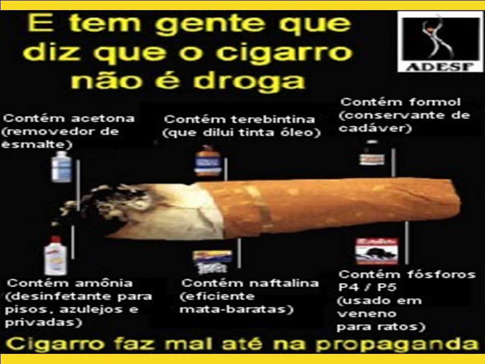 Explicitar os componentes do cigarro fazendo analogia a outros produtos considerados tóxicos.