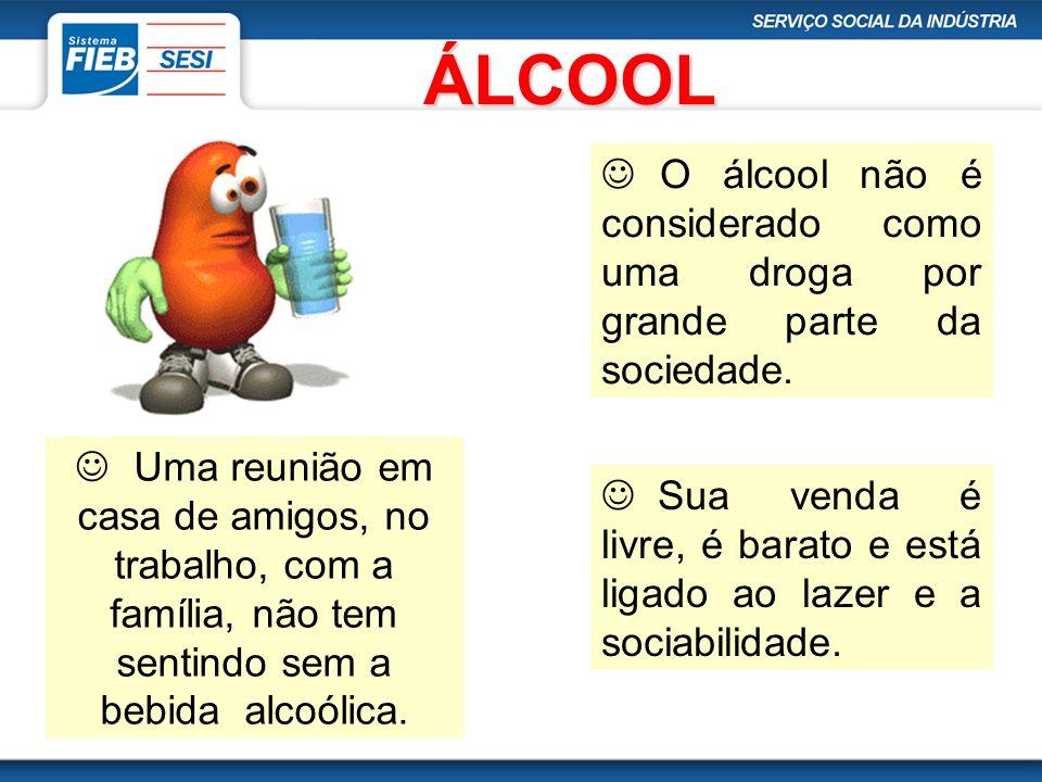 ÁLCOOL O álcool não é considerado como uma droga por grande parte da sociedade.