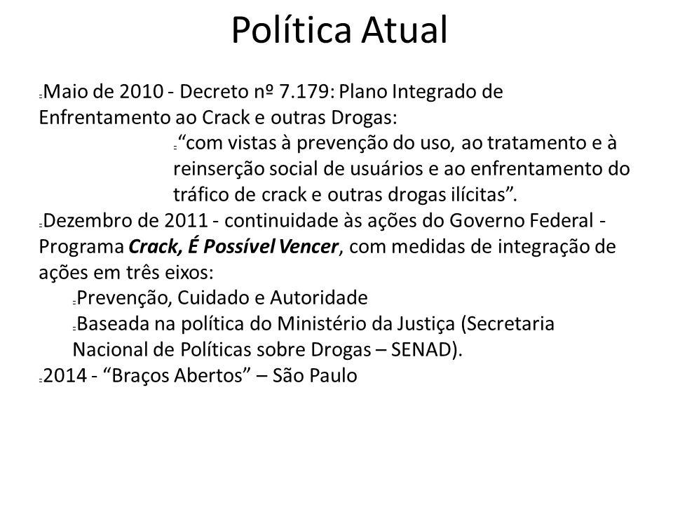 Política Atual Maio de 2010 - Decreto nº 7.179: Plano Integrado de Enfrentamento ao Crack e outras Drogas: