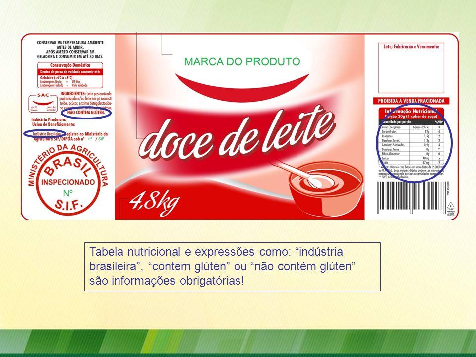 Tabela nutricional e expressões como: indústria brasileira , contém glúten ou não contém glúten são informações obrigatórias!