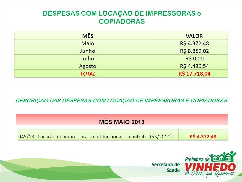 DESPESAS COM LOCAÇÃO DE IMPRESSORAS e COPIADORAS