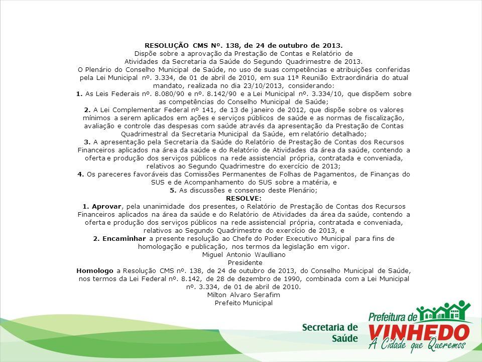 RESOLUÇÃO CMS Nº. 138, de 24 de outubro de 2013.