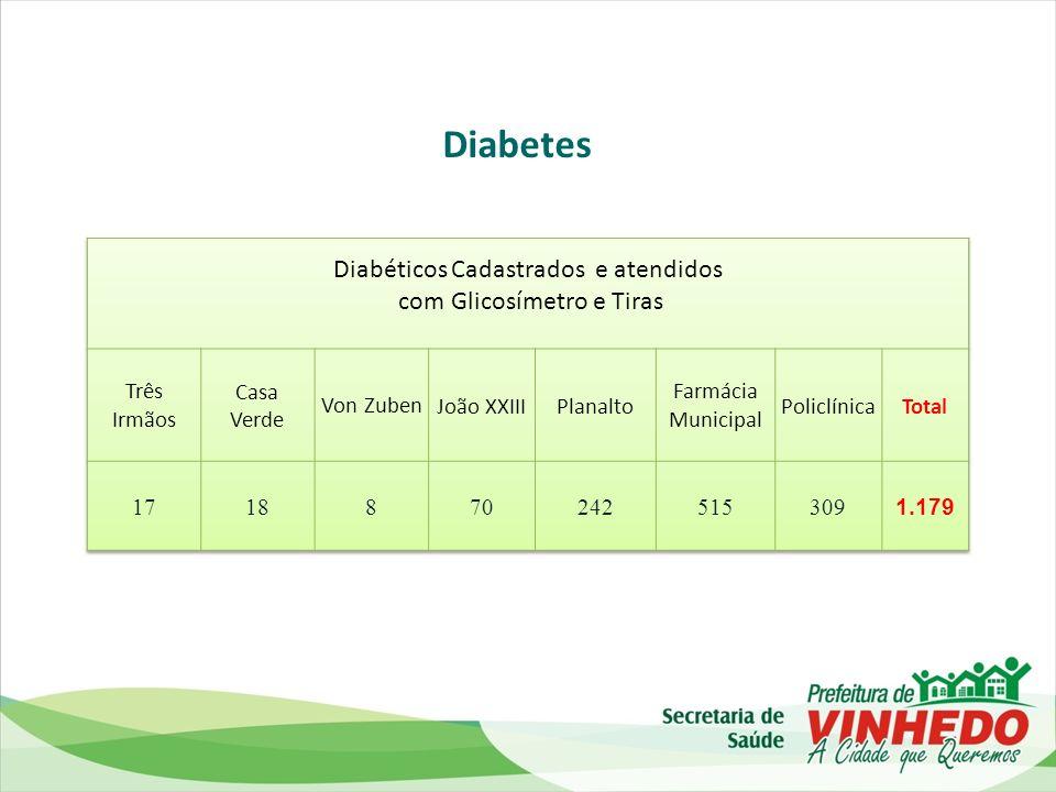 Diabetes Diabéticos Cadastrados e atendidos com Glicosímetro e Tiras