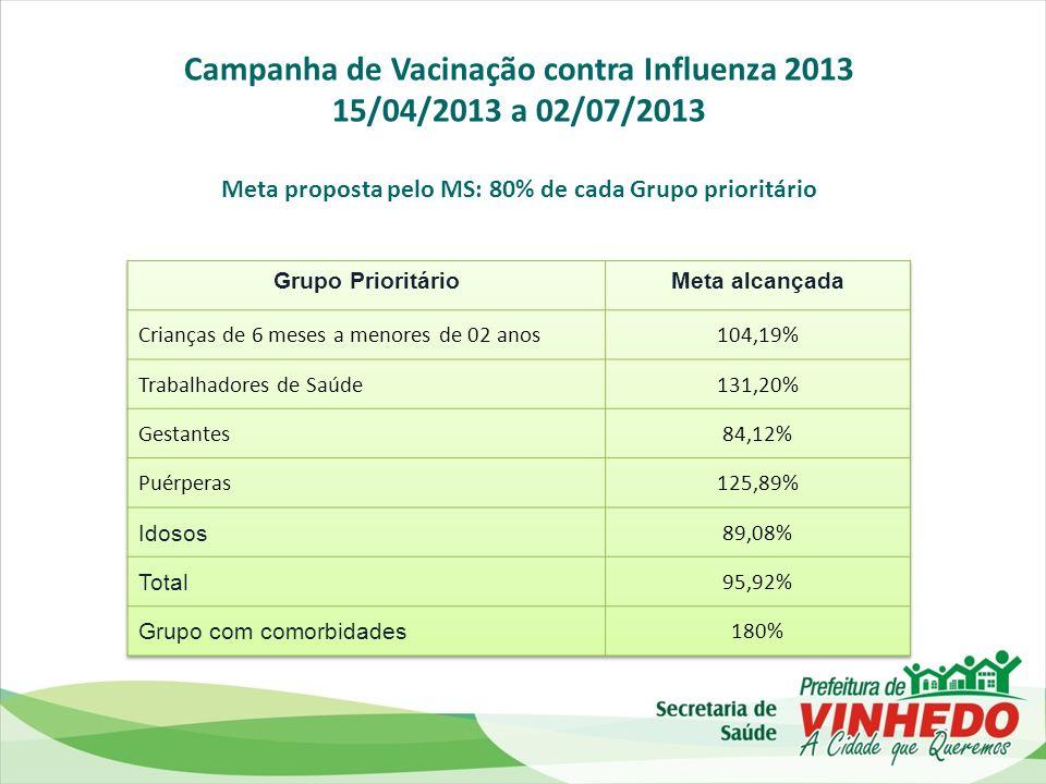 Campanha de Vacinação contra Influenza 2013 15/04/2013 a 02/07/2013