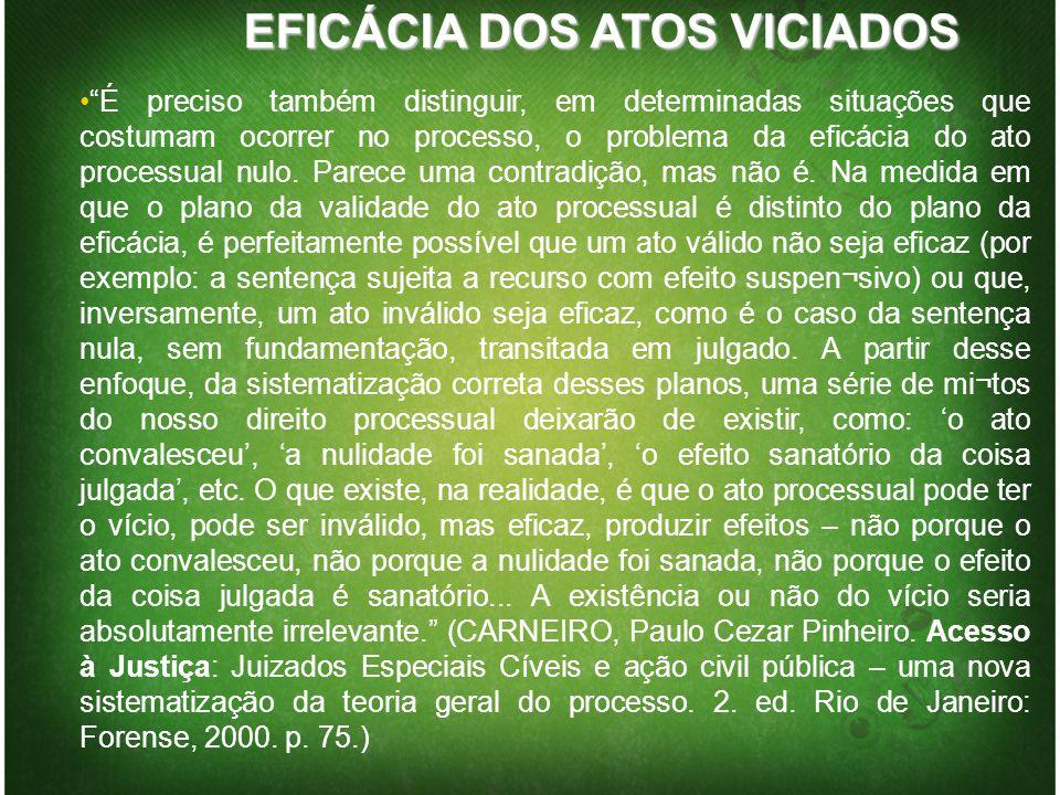 EFICÁCIA DOS ATOS VICIADOS