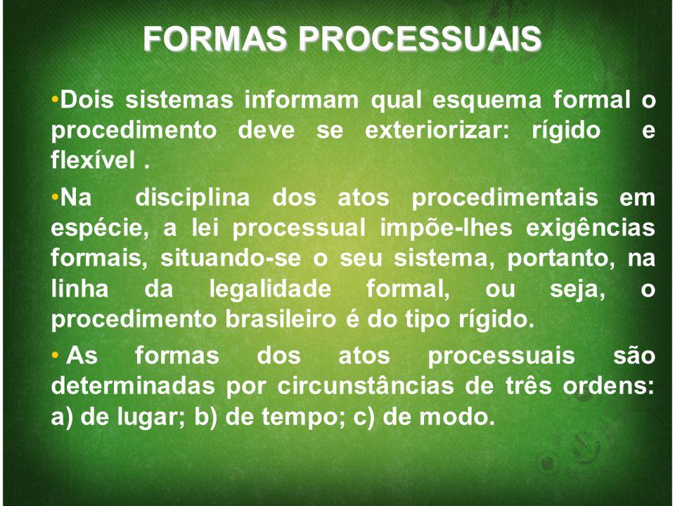 FORMAS PROCESSUAIS Dois sistemas informam qual esquema formal o procedimento deve se exteriorizar: rígido e flexível .