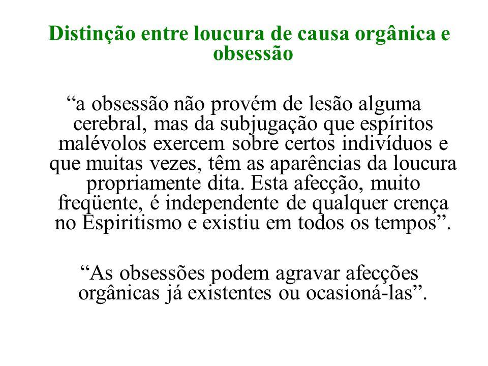 Distinção entre loucura de causa orgânica e obsessão