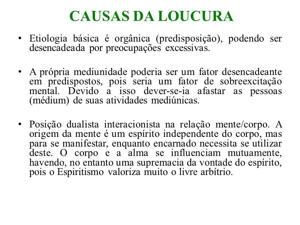 CAUSAS DA LOUCURA Etiologia básica é orgânica (predisposição), podendo ser desencadeada por preocupações excessivas.