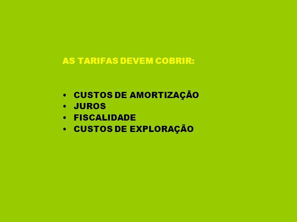 AS TARIFAS DEVEM COBRIR: