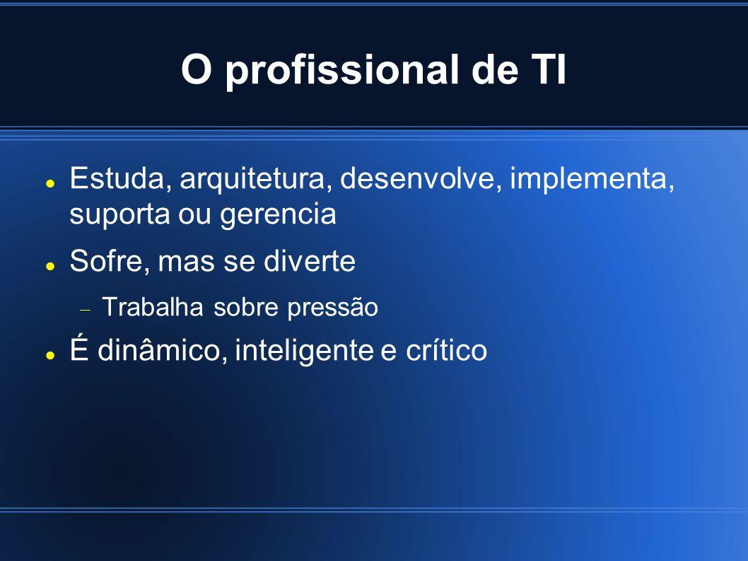 O profissional de TI Estuda, arquitetura, desenvolve, implementa, suporta ou gerencia. Sofre, mas se diverte.
