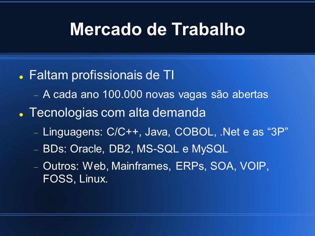 Mercado de Trabalho Faltam profissionais de TI
