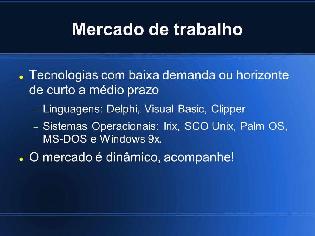 Mercado de trabalho Tecnologias com baixa demanda ou horizonte de curto a médio prazo. Linguagens: Delphi, Visual Basic, Clipper.